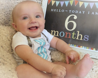 Baby Month Signs - Milestone Photo Prop - Month by Month Photo Prop - Baby Age Sign - (12) PDF Printable Files - Instant Digital Download
