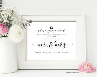 Printable Photo Sign Our Guest Book Sign, Wedding Sign, Guestbook, Wedding Printable, (2) JPEG Files, You Print, You Frame