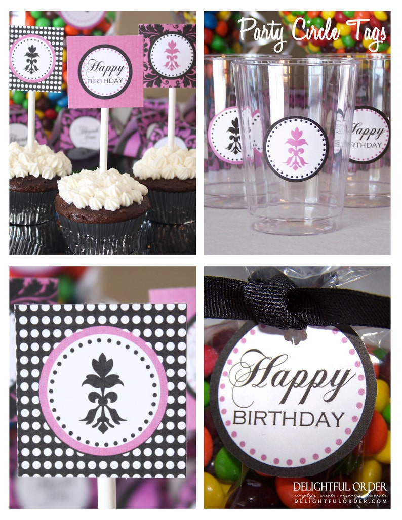 Damask Birthday Party Package 12 Pdf Printable Files Etsy