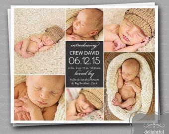 Custom Photo Birth Announcement - Baby Boy Crew  (JPEG Digital File) - You Print