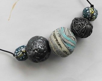 Handmade polymer clay gypsy beaded necklace, turquoise, hippie boho colorful necklace