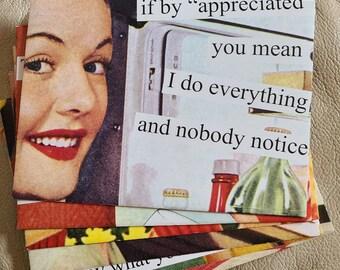 Retro Vintage Style Postcrossing Junk Journal Scrapbook Mail Art Card Pen Pal Post Anne Taintor Postcards