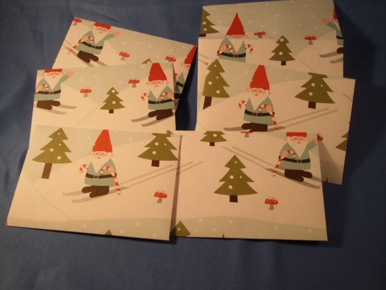 SALE Six Skiing Gnomes Envelopes /& Notecards