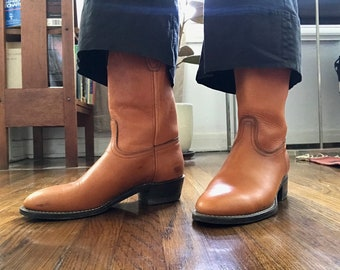 b4eeaa7ad9e8 TAN COWBOY BOOTS women's size 9 mint condition justin roper style made in  usa ankle cowhide slip resistant sole 2 block heel 90s minimalist