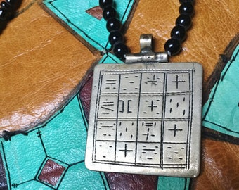 Tuareg Gri Gri Protection AMULET with TIFINAGH signs & Onyx Beads