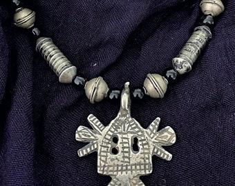 Berber Necklace with Tuareg & Black Glass Beads