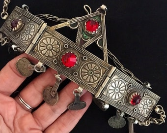 Berber Hinged Headdress with Red Colored Glass & Coins and Filigree details, S. Morroco