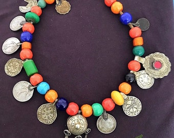 Old Berber necklace with Old plastic & Colorful Glass Beads, Coins and Metal Prayerbox with Dangles