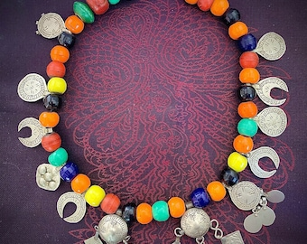 Old Berber necklace with Old Colorful Beads & Metal Prayerboxes with Dangles