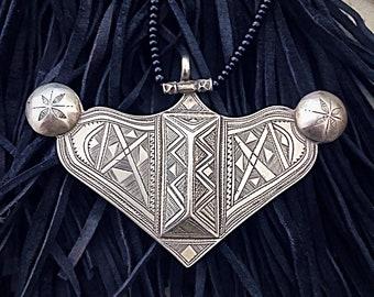Large SILVER Tuareg Pendant with Onyx Beads necklace, a unique piece!