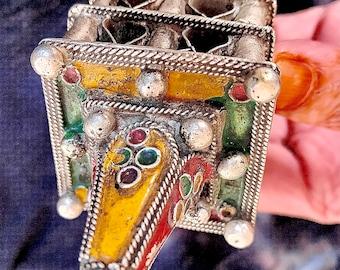 Old Berber Heavy Hair/Head ornament Perfume Ring with Enamel, Morocco