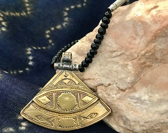 Rare Tuareg Copper Triangle Necklace with Onyx Beads & Tifinagh signed at the back