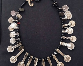 Old 44 Moroccan silver Coins with faceted onyx beads Necklace