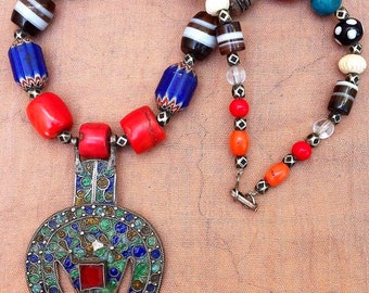Old Silver Enamel Filigrein pendant with coral, silver, glass & chevron beads, Tunisia