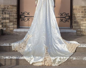 1940s Handmade Off White Ivory Satin Wedding Dress with Impressive Train Size Small