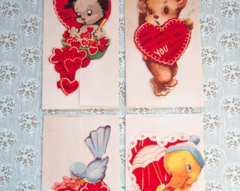 1940's Valentines-Collectible Ephemera-Lot of 4 unused cards with envelopes