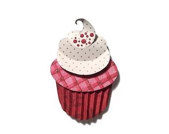 Handcut Paper Red Velvet Cupcake - Reserved