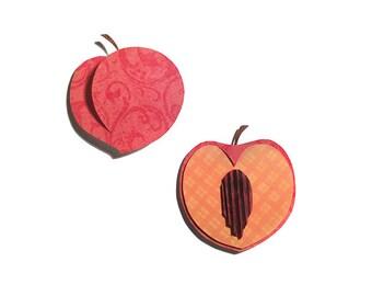 Handcut Paper Peach in Shadowbox