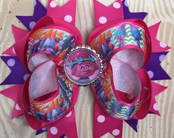 Large Trolls Poppy Hair Bow with Free Shipping!