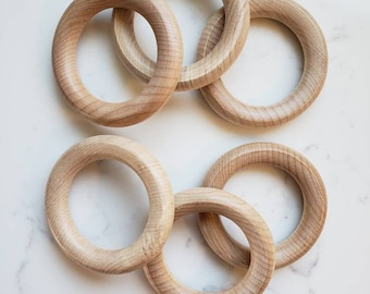 10 WOOD RINGS for Macrame - Wooden Rings for DIY Plant Hanger - Craft Wood Ring - Made in North America - Maple Wood Rings