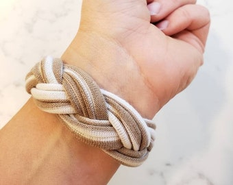Sailor Knot Bracelet for Women - Tan and White Upcycled Cuff - Celtic Knot Woven Fabric Bracelet Cuff - Nautical Knot Bracelet