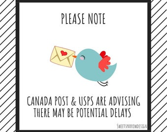 Potential Canada Post & USPS shipping delays