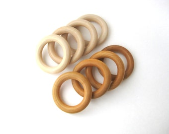 10 Maple WOOD TEETHING RINGS Wholesale- Wood Teether- Natural Teether- Wood Ring- Wood Baby Teether-Wooden Teething Toy-Baby Shower Gift