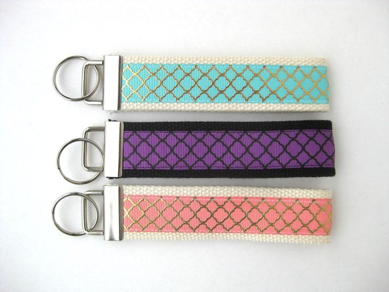 Coral Mint Purple Wristlet Key Fob Key Chain Gold Quatrefoil image 0