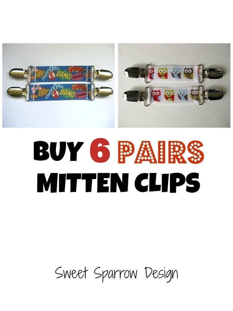6 Pairs MITTEN CLIPS for Children Mittens  Sleeve Clip for image 0