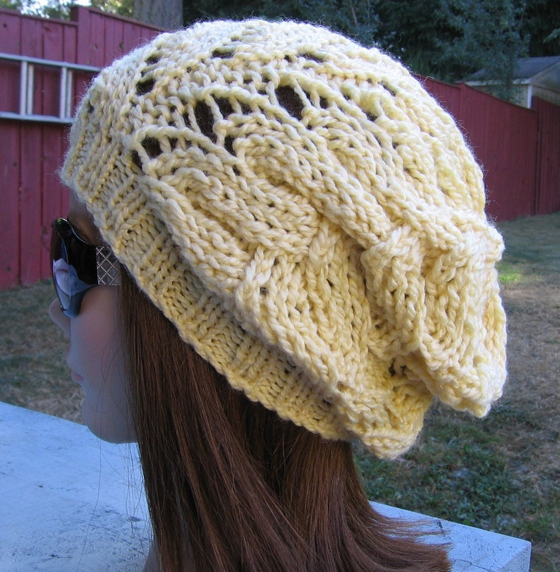 PDF Knitting Pattern Knit Slouchy Hat / Strascicato | Etsy