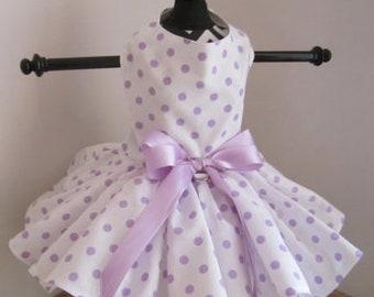 Hund-Kleid-Lavendel-polkadots