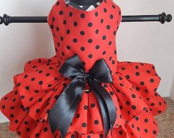 Dog Dress red with black polkadots