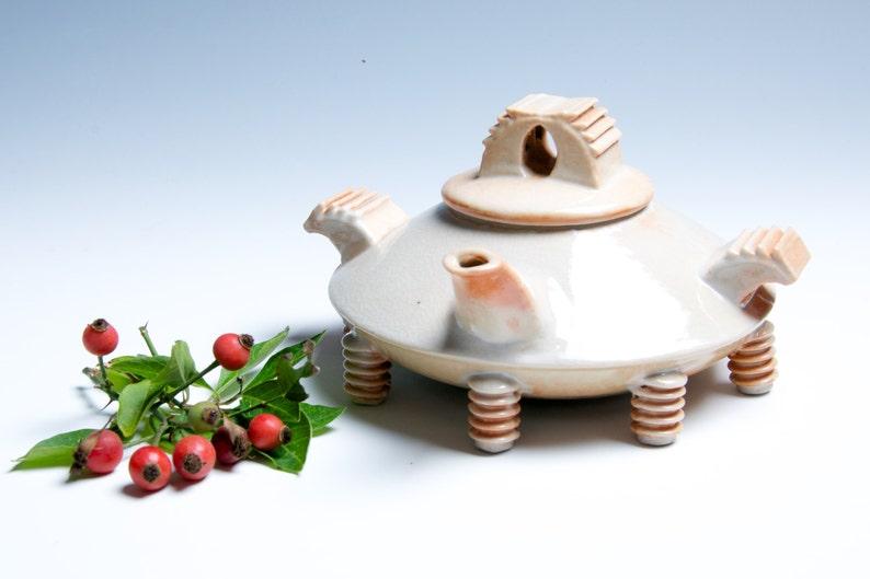 Eggshell White and Orange Contemporary Porcelain Ceramic image 0