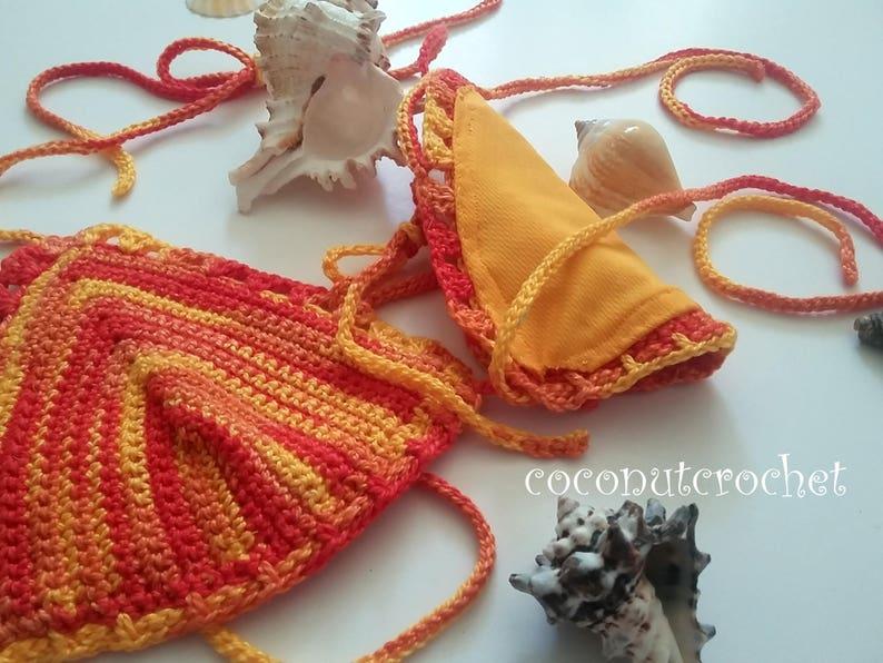 B or C Cup Lined Bikini Top Beachwear String Bikini Boho Gypsi Top Summer Wear Brazilian Top Hippie Puerto Rico Tropical Red Yellow Orange