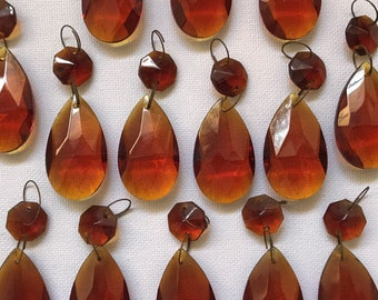 10 Pack Chandelier Replacement Crystal Prism Tear Drop Almond Two Bead Amber (Set of 10)