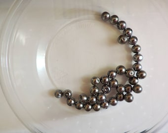 35 Perfect glass pearls 8mm,  dark grey, gray in color,  faux pearls, round glass beads
