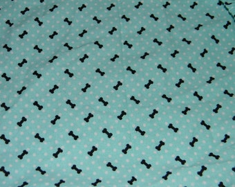 Turquoise Cotton Pack and Play Sheet with Dog Bones and Polka Dots