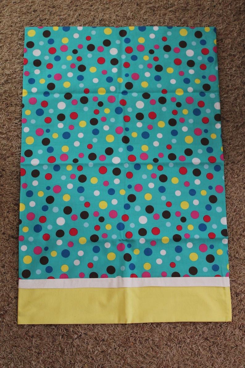 Teal Multicolored Polka Dot Standard Pillowcase