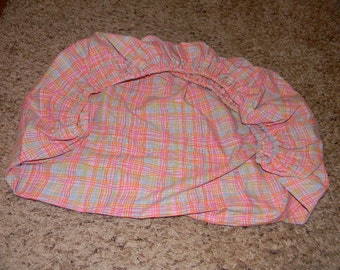 Pink Plaid Cotton Pack and Play Sheet