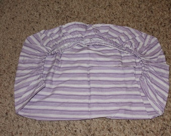 Purple and White Striped Fitted Pack and Play Sheet