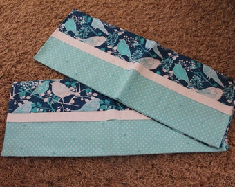 Teal and Turquoise Bird Standard Pillowcase-Pair Available