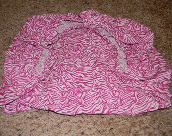 White and Pink Zebra Print Cotton Pack and Play Sheet