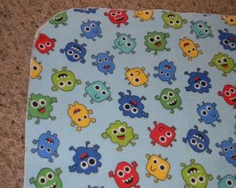 Blue Alien XL Receiving Blanket