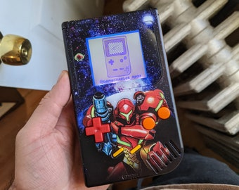 Custom backlit Metroid Gameboy DMG, modded bivert Nintendo game boy with new buttons, shell, and free game!
