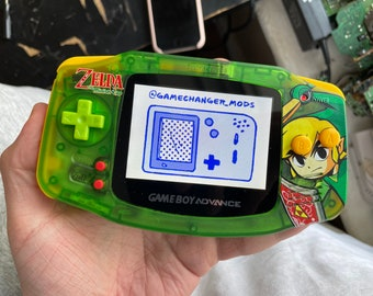 Custom ZELDA IPS Modded Gameboy Advance backlight with new buttons, shell, glass screen lens.