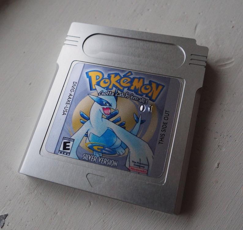 Pokemon Silver Version Custom Aluminum Cartridge Game Boy Game with Case
