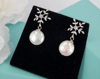 Rhinestone and Freshwater Pearl Bridal Earrings