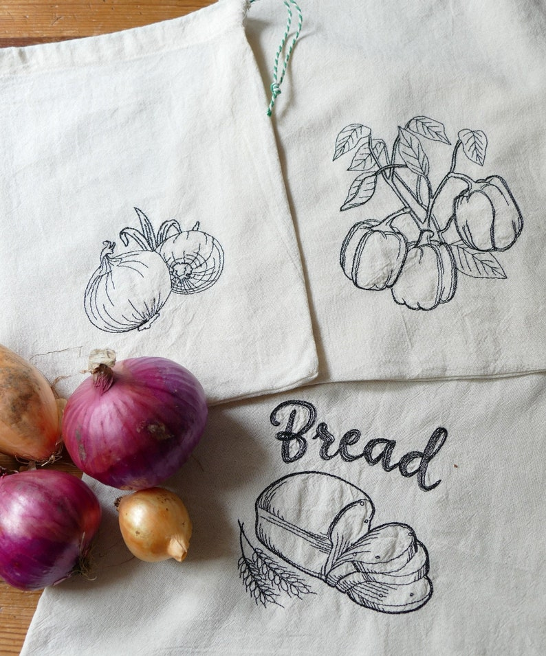 3 Reusable Embroidered Cotton Produce Bags different sizes image 0