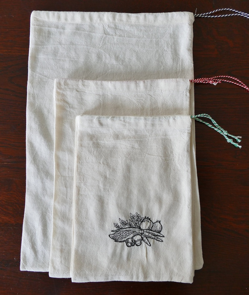 5 Reusable Embroidered Cotton Produce Bags different sizes image 0