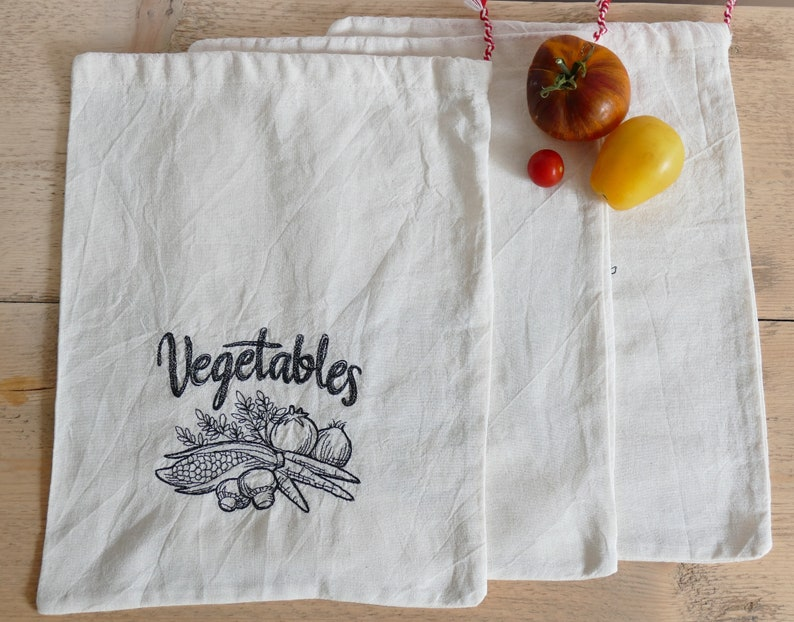 Reusable Embroidered Cotton Produce Bags set of 3 image 0